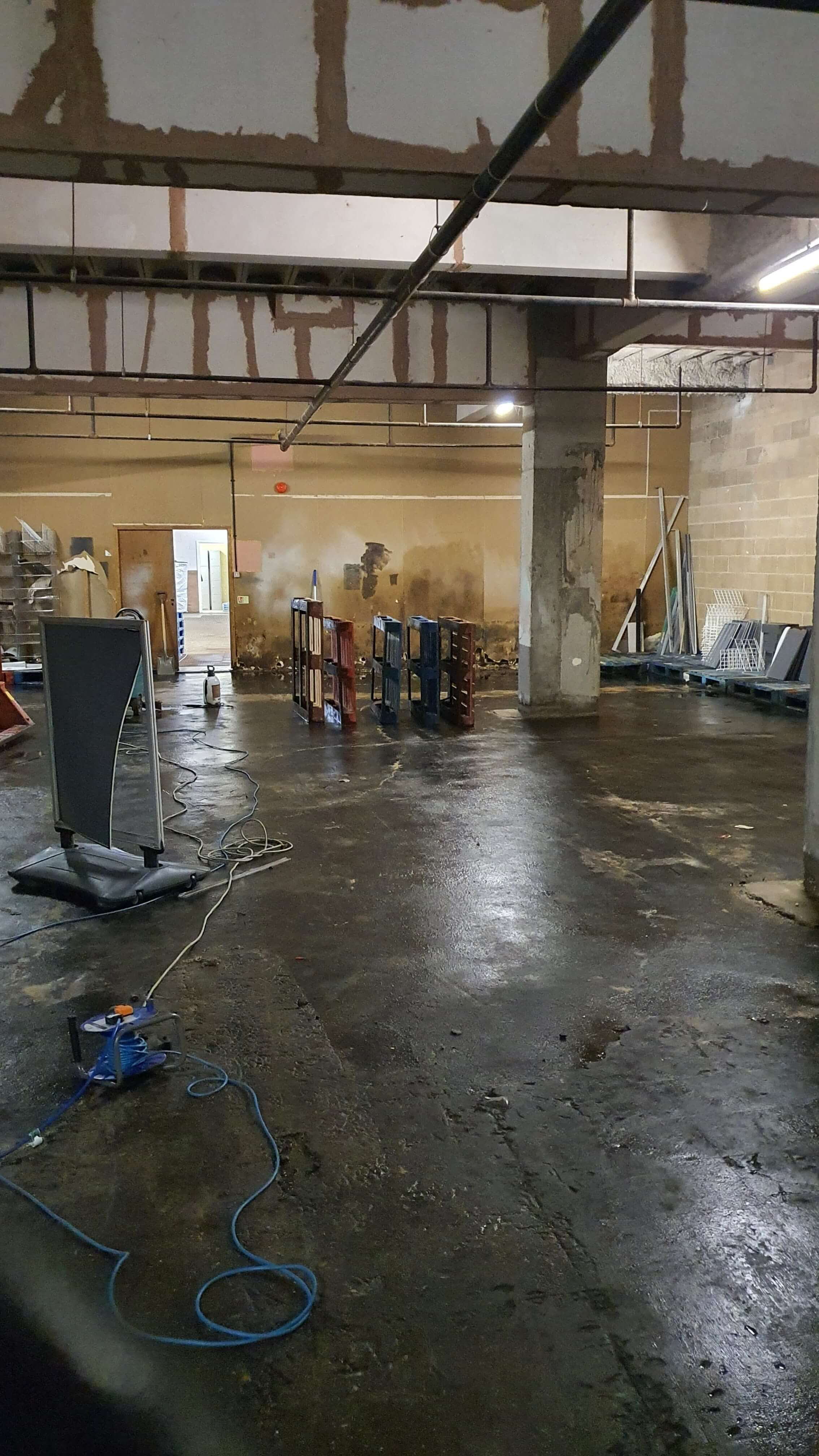 large commercial basement that experienced flooding